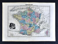 1877 Migeon Map - France in 1789 - French Revolution Paris - Bastille Vignette