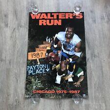 VINTAGE WALTER PAYTON 1987 WALTER'S RUN SIGNED AUTOGRAPH POSTER BECKETT PSA BAS