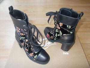 $1495 Christian Louboutin TC Croc Floral Velvet 70mm Combat Boots 35 US 5 NIB