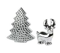 PACK OF 2 Desk Top Christmas Decoration Table Top Silver Tree Reindeer Ornaments