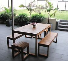 Brand New Australian Made Hardwood Timber Set 5pc 8 Seat Table & Bench Setting