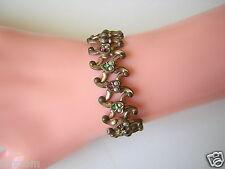 Antikes Ziehharmonika Armband mit Steinen Pink Grün & Saatperlen 14,7 g