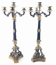Pair Antique French Empire Revival Bronze Dore Ormolu Gilt 4 Light Candelabras