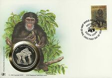 Sierra Leone Singe Chimpanze Ape Chimpanzee Affen Schimpanse Wwf Coin 1986 Fdc
