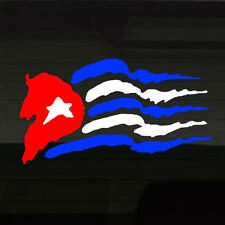 "Cuban Cuba Flag War-Torn Vinyl Decal Sticker 20""x11"" Ripped Rough Havana Graffix"