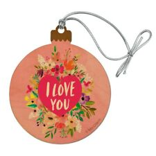 I Love You Flower Heart Wreath Wood Christmas Tree Holiday Ornament