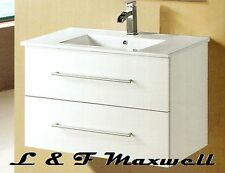 Wall Hung Vanity with Soft Close, Stone Top, under mounted Ceramic Basin 900mm