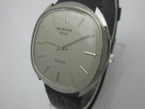 NOS NEW SWISS MADE MENS MICROMA WATCH ST STEEL QUARTZ VINTAGE 1970'S