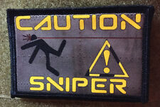 Caution Sniper Morale Patch Tactical Military Army Badge Hook Flag