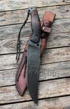 HANDMADE CARBON STEEL TACTICAL FIGHTING HUNTING BOWIE KNIFE & LEATHER SHEATH