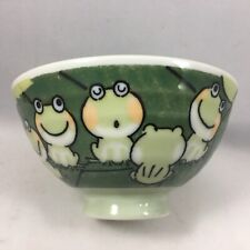 """Japanese Rice Soup Bowl 4-7/8""""D Porcelain Green Chorus of Frogs Made in Japan"""