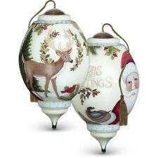 Beautiful Hand Painted Ne Qwa Seasons Greetings Santa, Deer etc with Box and COA