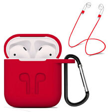 Strap Holder & Red Silicone Rubber Case Cover For Apple Airpods Accessories