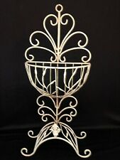 """Antique Wrought Iron Plant Stand Shabby Chic 22"""" Tall 10"""" Wide 5"""" Deep Basket"""