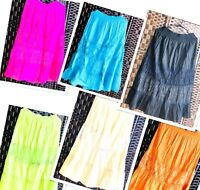 Indian Plain Lace  Fancy Summer Rayon Skirt with Lining Boho Hippie Gypsy Long