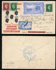 GB 1937 TIMBRO ESPOSIZIONE ILLUSTRATA mailcoach Label + Empire airmails sia legato