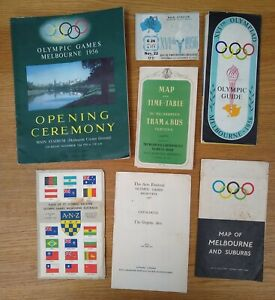 1956 Melbourne Olympics opening programme, ticket, guide, maps + more