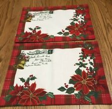New listing Set of 2 Placemats Holiday Christmas Poinsettia Cardinal Envelope Look 13x18
