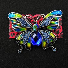 Betsey Johnson Hot Cute Blue Rhinestone Butterfly Crystal Charm Brooch Pin Gift