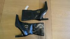 New Faith black leather zip up heeled boots size UK 6