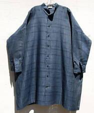 "NEW Eskandar NAVY Medium Weight Linen Mandarin Collar 38""  Long Tunic (1) $995"