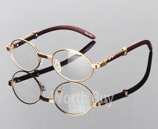 Retro Vintage Clear Lens Gold Wood Frame Fashion Designer Eyeglasses 80s Eyewear