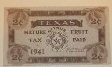 US Stamp State Revenue Texas Mature Citrus Fruit 2 Cents 1941 Used