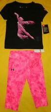 UNDER ARMOUR BABY GIRL SET 3T BLACK/PINK COLOR NEW