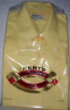 Vtg Kent's Butterfly Collar 70s Disco Yellow Button Down Sealed New Pocket Shirt