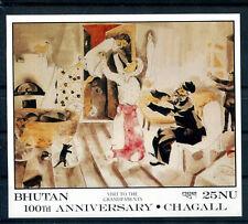 TABLEAU CHAGALL Bhoutan 1 bloc /6 de 1987 ** - ART PAINTING MALEREI KUNST