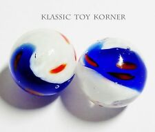 "*NEW!* 2 MINIATURE HANDMADE GLASS MARBLES ""AMERICAN TWIST"" 16mm PLAYERS"