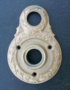 """2.5""""x3.5"""" Antique Vintage Old Cast Bronze Door Knob Doorknob Bell Ringer Plate"""