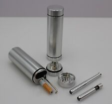 DUGOUT COMBO OUTDOOR KIT -SILVER- w/Grinder & 3 Tobacco One Hitter Pipes Dugout