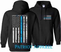 THIN BLUE LINE FLAG POLICE MATTER COPS OFFICER T-SHIRT USA HOODED SWEATSHIRT