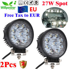 2x 27W LED Work Light Lamp Bar Spot Beam for Jeep Tractor Truck SUV 12v 24v CE