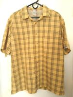 The North Face Mens Size XL Yellow Navy Blue Plaid Polyester Modal Hiking Shirt