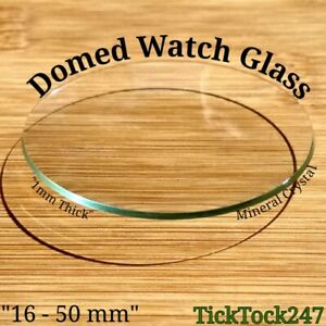 Domed Mineral Crystal Watch / Pocket Watch Glass Replacement Sizes 16 - 50 mm