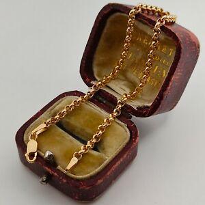 9ct solid gold dainty belcher link bracelet, Hallmarked, 2.8mm wide  7.5 inches
