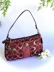Coach Burgundy Canvas Mini Handbag Purse Makeup Bag