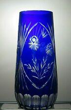 "VINTAGE RARE BOHEMIA CRYSTAL CUT TO CLEAR COBALT BLUE VASE - 11 3/4"" TALL"
