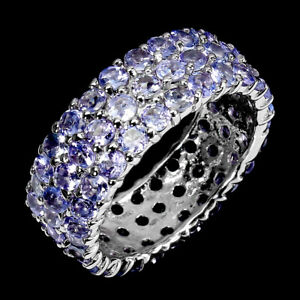 Unheated Round Tanzanite 2.5mm 14K White Gold Plate 925 Sterling Silver Ring 9