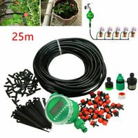 25M DIY Automatic Irrigation System Self Watering Drippers Garden Hose Timer UK
