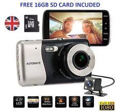 """Car Dash Cam Dashboard Camera 4"""" IPS HD 1080P Dual Lens Rearview 170° UK"""