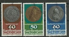LIECHTENSTEIN/ Münzen auf Briefmarken MiNr 710/12 o Ersttagstempel