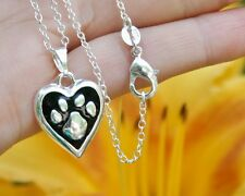 .925 Sterling Silver NECKLACE Paw Print Heart Pendant Cat Dog Pet Lover Gift