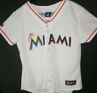 Majestic Miami Marlins Jersey Womens Size Large White MLB Baseball Team Apparel