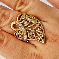 fashion jewelry vintage mens ring yellow gold filled leaves ring size 6