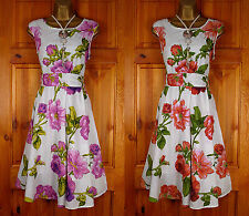Round Neck Cotton Casual Floral Dresses for Women