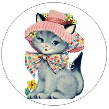 63 STICKER LABELS - KITTY CAT IN A PIN BONNET #65 ~  OPTIONAL SIZES AVAILABLE!