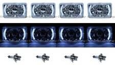 "4X6"" White LED Halo Drl Halogen Headlight Headlamp Light Bulbs Crystal Clear Set"